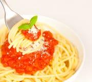 Consumición del espagueti Fotos de archivo