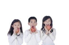 Consumición linda de tres niños manzanas Imágenes de archivo libres de regalías