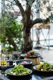 Consumición sana de la recepción de las comidas del restaurante del banquete imagen de archivo