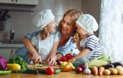 Consumición sana La madre y los niños felices de la familia prepara la ensalada vegetal foto de archivo