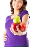 Consumición sana - mujer con las manzanas y la pera Fotografía de archivo