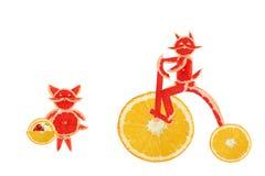 Consumición sana. Pequeños gatos divertidos hechos de las rebanadas del pomelo. Fotos de archivo