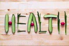 Consumición sana Salud de la palabra hecha de verduras Foto de archivo libre de regalías