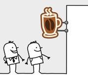 Consumidores & sinal da loja - ruptura de café Fotos de Stock