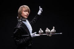 Consummate mastery of magician Stock Images