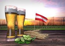 Consumo da cerveja em Áustria 3d rendem Imagens de Stock Royalty Free