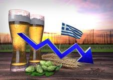 Consumo da cerveja em Grécia 3d rendem Foto de Stock Royalty Free