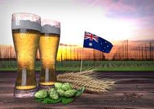 Consumo da cerveja em Nova Zelândia 3d rendem Imagem de Stock Royalty Free