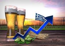 Consumo de aumentação da cerveja em Grécia 3d rendem Foto de Stock Royalty Free