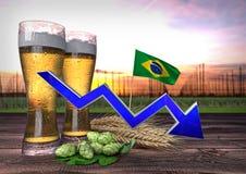 Consumo de diminuição da cerveja em Brasil 3d rendem Imagem de Stock Royalty Free