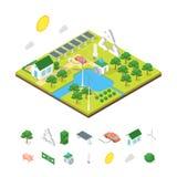 Consumo de energía verde de la ecología y opinión isométrica del concepto 3d de los elementos Vector stock de ilustración
