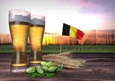 Consumo della birra nel Belgio 3d rendono Fotografie Stock Libere da Diritti