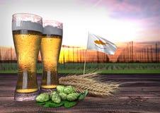 Consumo della birra nel Cipro 3d rendono Fotografia Stock Libera da Diritti