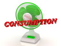 CONSUMPTION - Green Fan propeller and bright color letters Stock Image