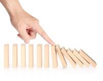 Contínuo dos dominós da parada da mão ruído Foto de Stock
