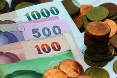 Conta da moeda do dinheiro do dinheiro de Tailândia imagem de stock royalty free