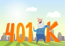 conta da pensão 401K, aposentadoria Homem idoso feliz no fron do acrônimo e da arquitetura da cidade Ilustração lisa colorida do  ilustração royalty free