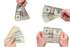Conta da posse 20 das mãos no fundo branco Fotos de Stock Royalty Free