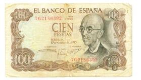 conta de 100 peseta de Spain, 1970 Imagem de Stock