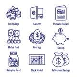 A conta de aposentadoria e o ícone das economias ajustaram o fundo de investimento aberto de w, o Roth IRA, etc. ilustração royalty free