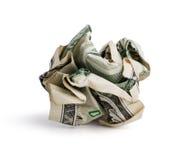 Conta de dólar amarrotada Fotos de Stock Royalty Free