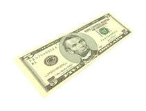 Conta de dólar cinco esticada em um ângulo Imagem de Stock