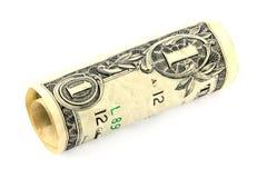 Conta de dólar rolada Fotografia de Stock Royalty Free