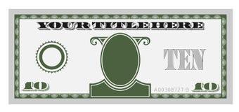 Conta de dinheiro dez Imagem de Stock Royalty Free