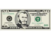 Conta de dólar cinqüênta   Imagem de Stock