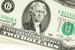 Conta de dólar dois Imagens de Stock