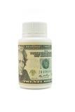 Conta de vinte dólares americanos No frasco plástico Fotos de Stock