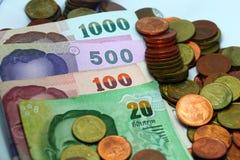 Conta do dinheiro da moeda do dinheiro de Tailândia fotos de stock royalty free