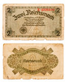 a conta do reichsmark 2 de Alemanha isolou-se no branco Imagens de Stock