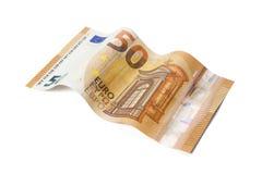 Conta nova de 50 Euros na forma de onda com trajeto de grampeamento Imagens de Stock Royalty Free