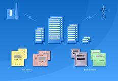 Contabilidad de la energía térmica y de la energía eléctrica fotos de archivo libres de regalías