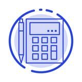 A contabilidade, conta, calcula, cálculo, calculadora, financeira, linha pontilhada azul linha ícone da matemática ilustração royalty free