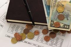 Contabilità, calcoli di affari, calcolatore, conteggio dei fondi fotografie stock