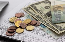Contabilità, calcoli di affari, calcolatore, conteggio dei fondi fotografia stock libera da diritti