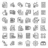 Contabilità la linea sottile icone Immagini Stock