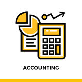 CONTABILITÀ lineare dell'icona della finanza, attività bancarie Pittogramma nel profilo Fotografia Stock