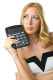 Contable de mujer con la calculadora Imagen de archivo libre de regalías