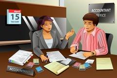 Contable Helping un hombre que llena el impuesto libre illustration