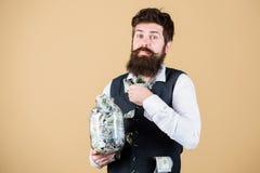 Contable personal Hombre de negocios con sus ahorros del dólar Riqueza y bienestar Ahorros del dinero de la seguridad y del efect fotografía de archivo