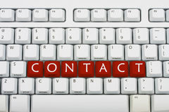 Contact. A grey keyboard with the word contact, contacting us Stock Photography