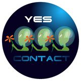 Contact. Peaceful group of space aliens illustration Royalty Free Stock Photos