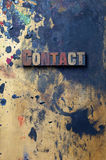 Contact. The word Contact written in antique letterpress printing blocks Royalty Free Stock Photo