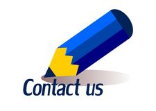 Contact. A blue pencil and the form contact us Stock Photography