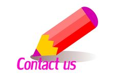 Contact. A red pencil and the form contact us Stock Image