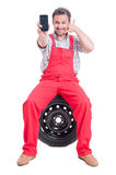 Contact auto service or tire vulcanization company concept Stock Photo