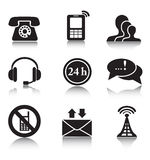 Contact black icons set Royalty Free Stock Photo
